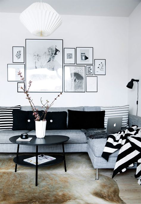 Simple Black And White Apartment Design Attractor Living Room Interior