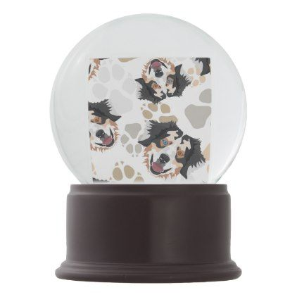Christmas Snow Globes Australia.Pattern Dog Paws Australian Shepherd Snow Globe Zazzle Com