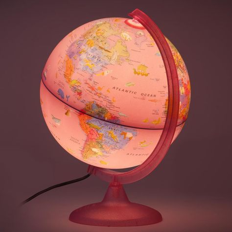 The Safari Explorer Pink Ocean Animals Globe is a 10 in. illuminated desktop kids globe featuring pink l and mass shadings and pink ocean stylings with of illustrated animals and geographic points interest. When illuminated the internally locat Plywood Furniture, Pink Furniture, Kelly Wearstler, Room Ideas Bedroom, Bedroom Decor, Kids Globe, Magical Room, Pink Ocean, Kawaii Room