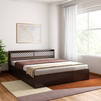 Crystal Furnitech Aspen Engineered Wood King Drawer Bed Finish Color Walnut Dream White Bed Price Bed Ashley Furniture