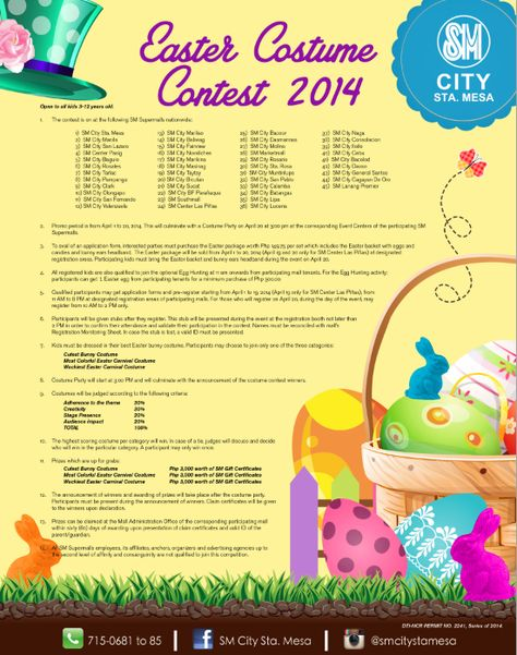 Come and join us this Easter Sunday! Register your kids at the Easter Costume Contest and get a chance to win 3,000 worth of SMGC's!