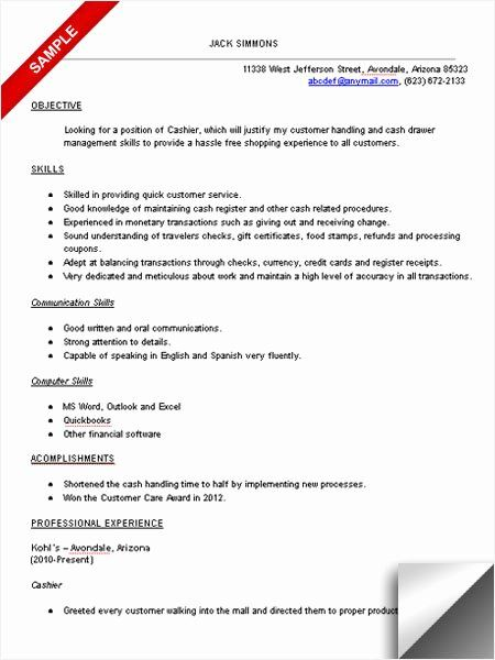 Cash Handling Experience Resume Lovely Cashier Resume Sample Limeresumes In 2020 Good Objective For Resume Resume Objective Examples Resume Skills
