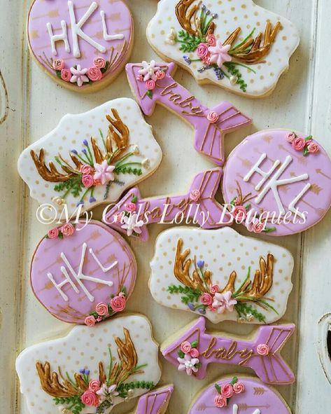 Oh Deer! Baby Shower Bohemian Shabby Chic Decorated Sugar Cookies with Antlers Flowers and Gold Details
