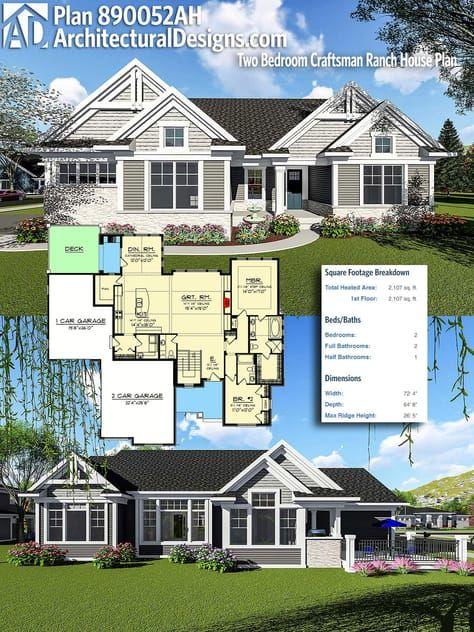 Plan 890052ah Two Bedroom Craftsman Ranch House Plan Craftsman House Plans House Plans Craftsman House