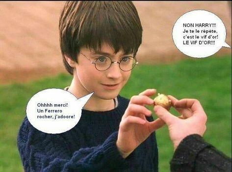 C'est pour ça que la premiere fois que Harry a attrapé le vif d'or été par la bouche ?