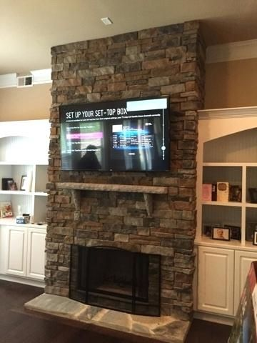 Stone Fireplace With Tv Amusing Mount Over Stone Fireplace About