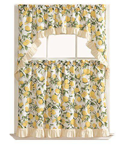 Lemon Fest 3 Pc Kitchen Curtain Tier Swag Set Color Your