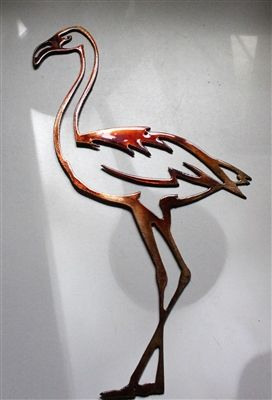 "Flamingo Metal Wall Art Accent 12/"" tall x 7 1//2/"" wide"