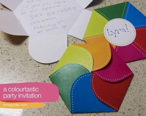 rainbow envelope (or invitation) -- free printable