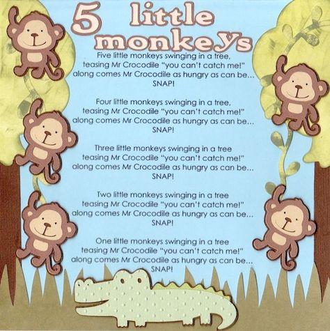 5 Little Monkeys Scrapbook Com Fun Idea To Scrap Song