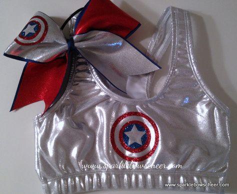 Captain America Super Hero  Metallic Sports Bra and Bow Set Cheerleading on Etsy, $36.99
