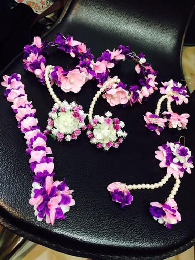 Artificial Floral Jewellery Baby Pink And Purple Floral Jewellery Floral Baby Pink