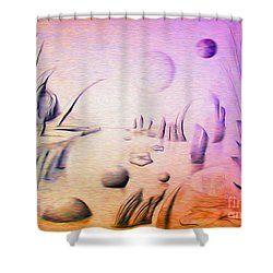 Sci Fi Energy Farm On Planet Z Shower Curtain By Simon Knott