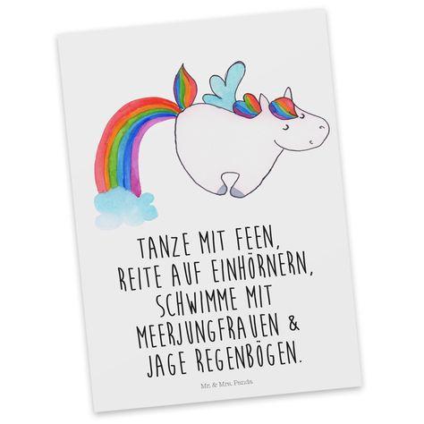 """Postkarte Einhorn Pegasus aus Karton 300 Gramm  weiß - Das Original von Mr. & Mrs. Panda.  Diese wunderschöne Postkarte aus edlem und hochwertigem 300 Gramm Papier wurde matt glänzend bedruckt und wirkt dadurch sehr edel. Natürlich ist sie auch als Geschenkkarte oder Einladungskarte problemlos zu verwenden. Jede unserer Postkarten wird von uns per hand entworfen, gefertigt, verpackt und verschickt.    Über unser Motiv Einhorn Pegasus  Ganz nach dem Motto """"Einen Regenbogen nennt man in Einhor..."""