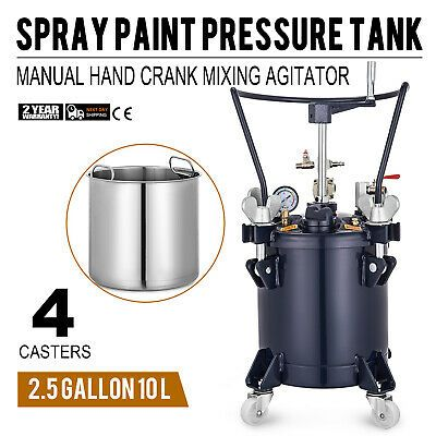 Sponsored Ebay 10 Liters Spray Paint Pressure Pot Tank Roll Caster 4 Casters Mixing Agitator Pressure Pot Spray Pressure Tanks
