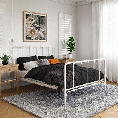 Full Sofia Farmhouse Metal Bed White Room Joy Metal Platform Bed Metal Beds Platform Bed