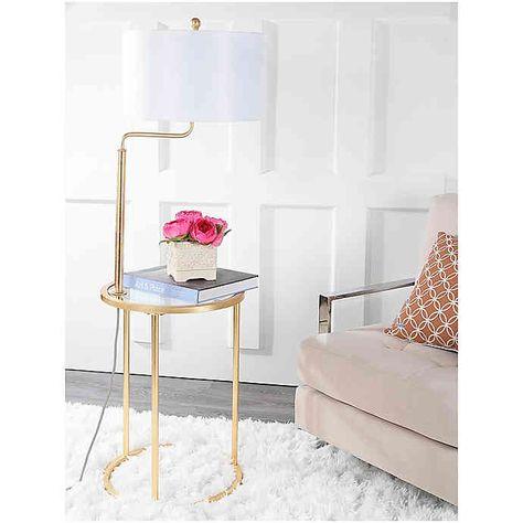 Safavieh Crispin 1 Light Floor Lamp Side Table In Gold Medidas De Mesas Sala
