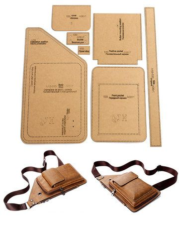 Leather Diy Crafts, Leather Bags Handmade, Leather Projects, Handmade Bags, Leather Craft, Leather Bag Tutorial, Leather Wallet Pattern, Backpack Pattern, Fanny Pack Pattern