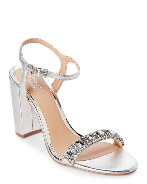 8f74403bad5e Jewel Badgley Mischka Silver Hendricks Embellished Block Heel Sandals