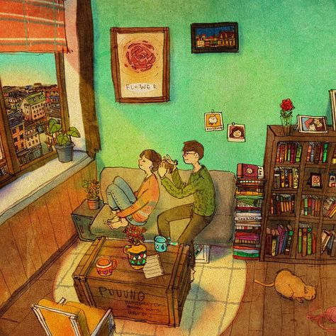 This Korean Artist Shows How Easy and Wonderful Love Can Be: Korean artist Puuung has been receiving a lot of attention lately for her beautiful Internet paintings that show what real love looks like.