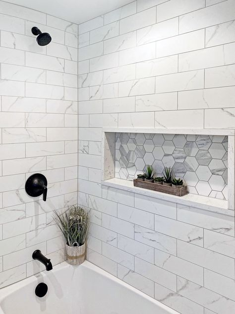 Hall Bathroom, Upstairs Bathrooms, Family Bathroom, Small Full Bathroom, Basement Bathroom Ideas, Home Depot Bathroom Tile, Tiled Bathrooms, Bathroom Renovations, Bathroom Renos