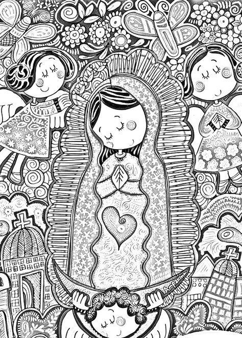 Dibujos Catolicos Virgencita Plis Distroller Para Colorear Pintar E Imprimir Lkersovanic Emmap Virgencita De Guadalupe Caricatura Dibujos Libro De Colores
