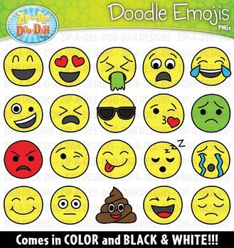 Need Emoji Clipart Click Here This Set Includes A Total Of 40 Template Images 20 Color And 20 B W Please See All Preview I Clip Art Doodles Emoji Images
