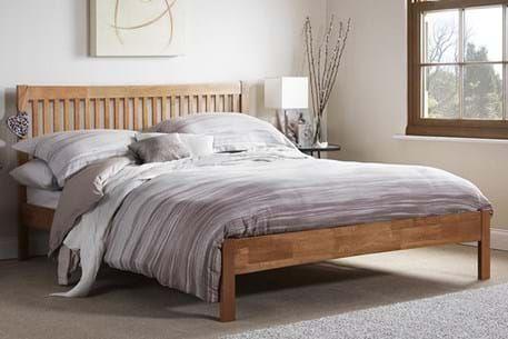 Mya Shaker Style Wooden Bed Frame Slatted Headboard Bed Frame