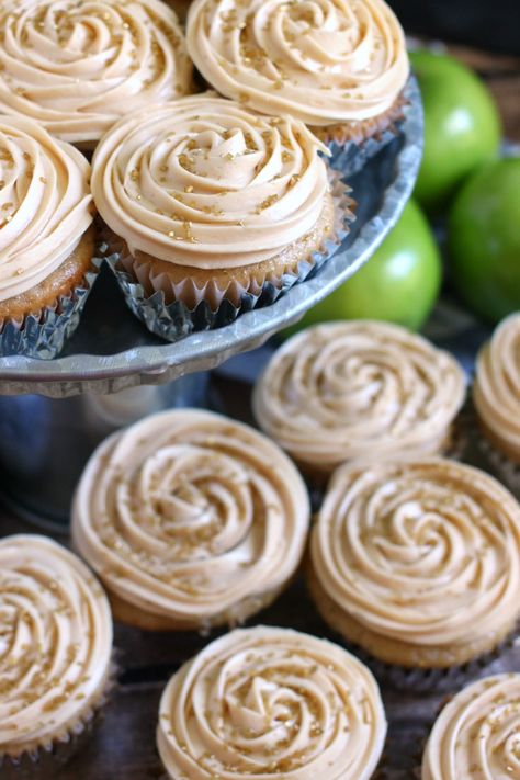 Apple Cider Cupcakes with Salted Caramel Frosting
