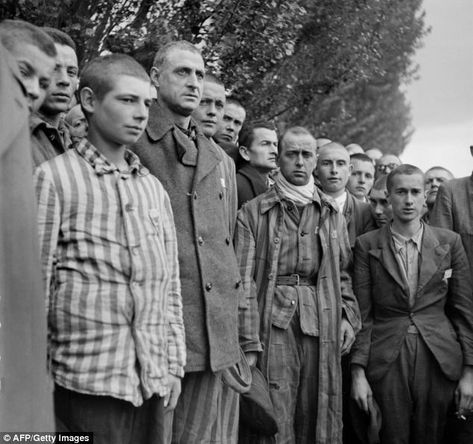 French prisoners sing their national anthem, La Marseillaise, upon the liberation of the Nazi concentration camp of Dachau, near Munich, by Allied troops at the end of April 1945.