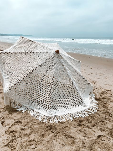 Macrame Umbrella. #macrameumbrella #patioumbrella #beachumbrella #fringeumbrella #beachaccessories