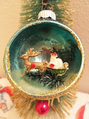 Christmas Diorama Ornaments.Vintage Pink Mercury Glass Diorama Ornament With Bottle