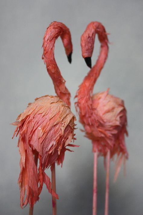 paper flamingos