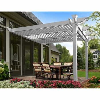 New England Arbors Elysium 12 Ft X 12 Ft Louvered Pergola In 2020 Louvered Pergola Backyard Pergola Pergola Patio