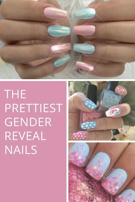 Remove Shellac Polish, Remove Acrylic Nails, Shellac Nail Art, Gel Nails, Gel Polish, Baby Nail Art, Baby Nails, Gender Reveal Nails, Baby Shower Nails