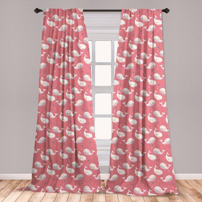 East Urban Home Ambesonne Whale Window Curtains Baby Whales With