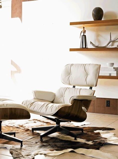 Design Fauteuil Wit Leer.Eames Lounge Chair Wit Leer Wit Eiken Witte Stalen Poten