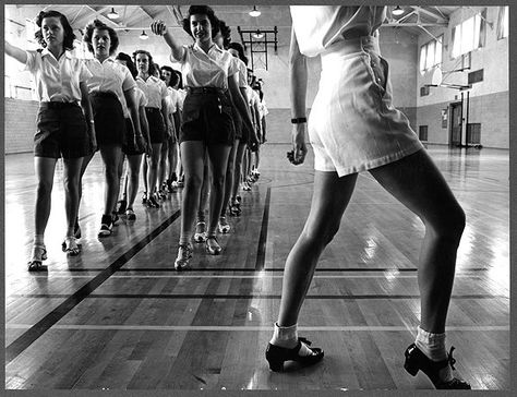 Jack Delano, FSA/OW. Tap dancing class in the gymnasium at Iowa State College, Ames, Iowa. 1942.