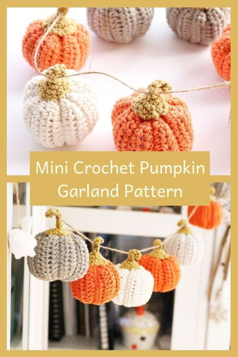 Mini crochet pumpkin pattern - easy for beginners with a printable pattern and video tutorials. Make a mini pumpkin garland this fall. crochet patterns Mini Pumpkin Crochet Pattern {Easy And Quick} Crochet Pumpkin Pattern, Halloween Crochet Patterns, Easy Crochet Patterns, Tutorial Crochet, Fall Patterns, Crochet Bunting Free Pattern, Free Crochet Patterns For Beginners, Fall Knitting Patterns, Pumpkin Patterns