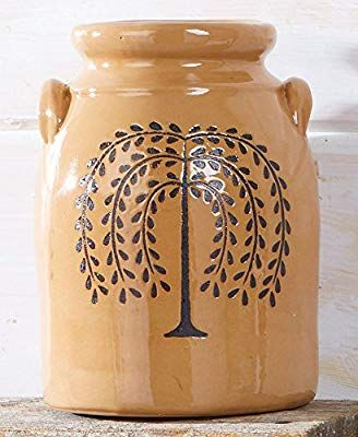 Amazon Com The Lakeside Collection Primitive Willow Tree Country Crock Home Kitchen Primitive Decorating Country Rustic Ceramics Ceramics Pottery Vase