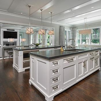 Two Kitchen Islands With Black Marble Countertops White Marble Kitchen Island White Marble Kitchen Kitchen Design