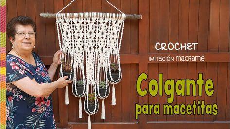 Colgante para macetitas imitación MACRAMÉ tejido a crochet  🌸 / Tejien...