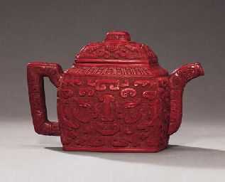 A Very Rare Cinnabar Lacquered Yixing Teapot Price Realised Hkd 1 394 100 Estimate Hkd 800 000 Hkd 1 000 000 Tea Pots Yixing Teapot Teapots Unique