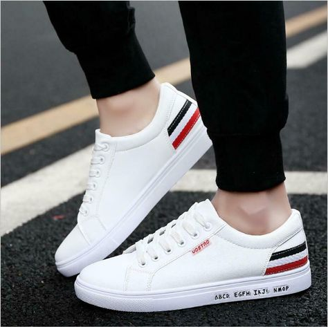 Details about 2019 Fashion Men's leather Casual Shoes Sports Sneakers  Walking Pure White Shoes