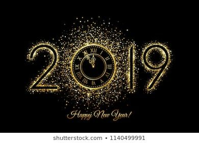 Happy New Year 2019 Vector New Year Background With Gold Clock On Black Happy New Year Message Happy New Year 2019 New Year Message