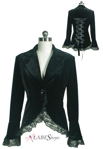 Corseted Black Velvet Jacket CS-31954 by China Doll Gothic, Vampire & Steampunk | Gothic Jewelry | Demonia