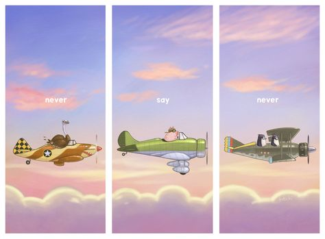 Never Say Never by Jason Kotecki #pigs #airplanes #penguins #ostrich #birds #flight #sunset #impossible #fly http://escapeadulthood.com/buyart