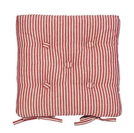 Red Ticking Stripe Seat Pad Chair