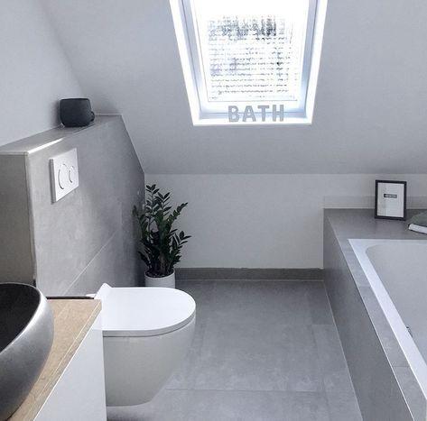 Dachschrage Fenster Graues Badezimmer Betonoptik Fliesen Grey Bathrooms Concrete Look Tile Bathroom Inspiration