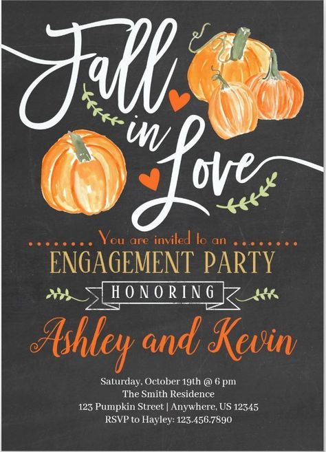 Halloween Engagement Party Invitation Fall Engagement Invitation Engagement Invites Fall in Love Halloween Invitation Halloween Wedding Backyard Engagement Parties, Engagement Party Planning, Engagement Party Decorations, Engagement Party Invitations, Wedding Engagement, Pumpkin Wedding Decorations, Fall Wedding Desserts, Fall Party Invitations, Customer Engagement